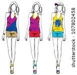 girl fashion sketch summer style | Shutterstock .eps vector #107802458