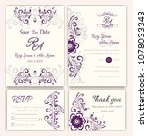 vector set of invitation cards... | Shutterstock .eps vector #1078033343
