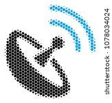 halftone circle space antenna... | Shutterstock .eps vector #1078034024