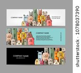 banners design  funny dogs... | Shutterstock .eps vector #1078037390