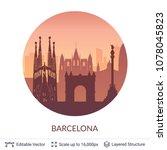 barcelona famous city scape.... | Shutterstock .eps vector #1078045823