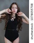 beautiful girl in swimsuit...   Shutterstock . vector #1078055708