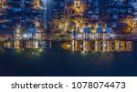 container ship working at night ... | Shutterstock . vector #1078074473