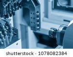 the small cnc turning or lathe... | Shutterstock . vector #1078082384