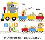 funny animals cartoon vector... | Shutterstock .eps vector #1078083590