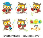 set of owl cartoon vector with... | Shutterstock .eps vector #1078083599