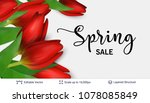 spring season red tulips and... | Shutterstock .eps vector #1078085849