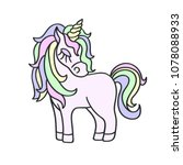 hand drawing pink unicorn with... | Shutterstock . vector #1078088933