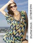 portrait of beautiful brunette...   Shutterstock . vector #107809394