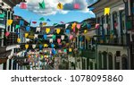 colorful paper flags and... | Shutterstock . vector #1078095860