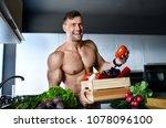 healthy strong muscular sport... | Shutterstock . vector #1078096100