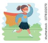 Superhero Kid Girl Running In...