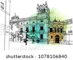 urban sketch with landscape of... | Shutterstock .eps vector #1078106840