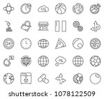 thin line icon set   around the ... | Shutterstock .eps vector #1078122509