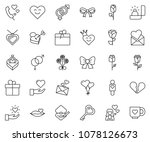 thin line icon set   rose... | Shutterstock .eps vector #1078126673