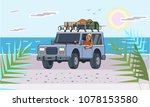 suv car with luggage on the...   Shutterstock .eps vector #1078153580
