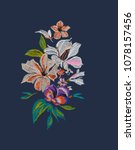 Embroidered Flowers A Blue Background - Fine Art prints
