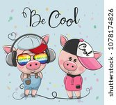 cute cartoon pigs boy and girl... | Shutterstock .eps vector #1078174826