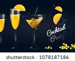glasses of cocktails on dark... | Shutterstock .eps vector #1078187186