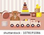 kids toys concept. teddy bear... | Shutterstock .eps vector #1078191086