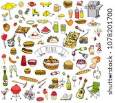 hand drawn doodle picnic icons... | Shutterstock .eps vector #1078201700