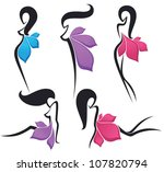 vector collection of girls look ...