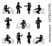 stick figure man and woman... | Shutterstock .eps vector #1078213790