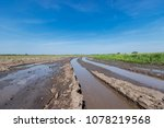 disappearing traces of tractor... | Shutterstock . vector #1078219568