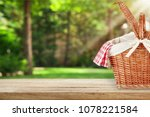 picnic basket with napkin on... | Shutterstock . vector #1078221584