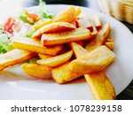 golden french fries potatoes... | Shutterstock . vector #1078239158