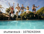 group of crazy young people... | Shutterstock . vector #1078242044