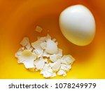 boiled egg with broken shell | Shutterstock . vector #1078249979