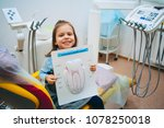 a little girl is curing a tooth ...   Shutterstock . vector #1078250018