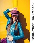 stylish glamorous girl posing... | Shutterstock . vector #1078254578