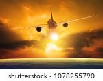 passenger plane flying over... | Shutterstock . vector #1078255790