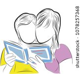 sketch two girls are reading a... | Shutterstock .eps vector #1078257368