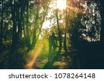 cyclist rides along country... | Shutterstock . vector #1078264148
