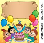 small parchment with kids party ... | Shutterstock .eps vector #1078266728