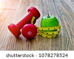 dumbbell measuring tape and... | Shutterstock . vector #1078278524