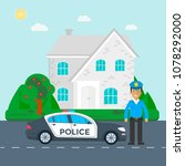police patrol on a road with...   Shutterstock .eps vector #1078292000