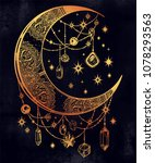ornate crescent boho moon with... | Shutterstock .eps vector #1078293563