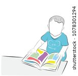 the child views the book with... | Shutterstock .eps vector #1078301294