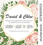 wedding invitation template... | Shutterstock .eps vector #1078305923