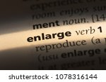 Small photo of enlarge word in a dictionary. enlarge concept