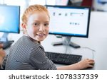 young girl with red hair using... | Shutterstock . vector #1078337339