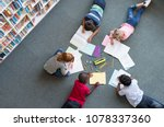 elementary children lying on... | Shutterstock . vector #1078337360
