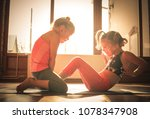 two little gymnastic girls... | Shutterstock . vector #1078347908
