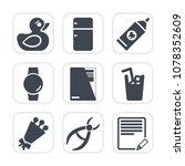 premium fill icons set on white ... | Shutterstock .eps vector #1078352609