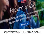 Small photo of New york, USA - April 26, 2018: Create an Ad on facebook app on screen close-up