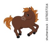 adorable cartoon horse... | Shutterstock .eps vector #1078357316